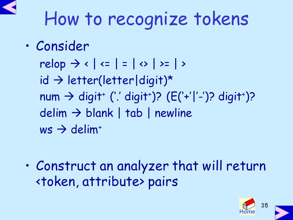 How to recognize tokens