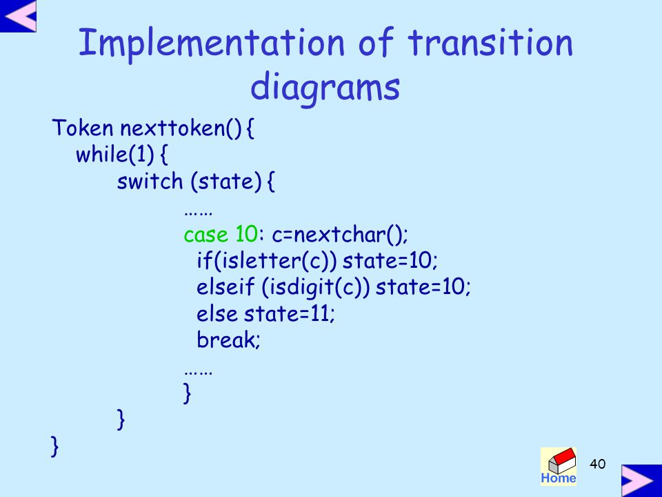 Implementation of transition diagrams