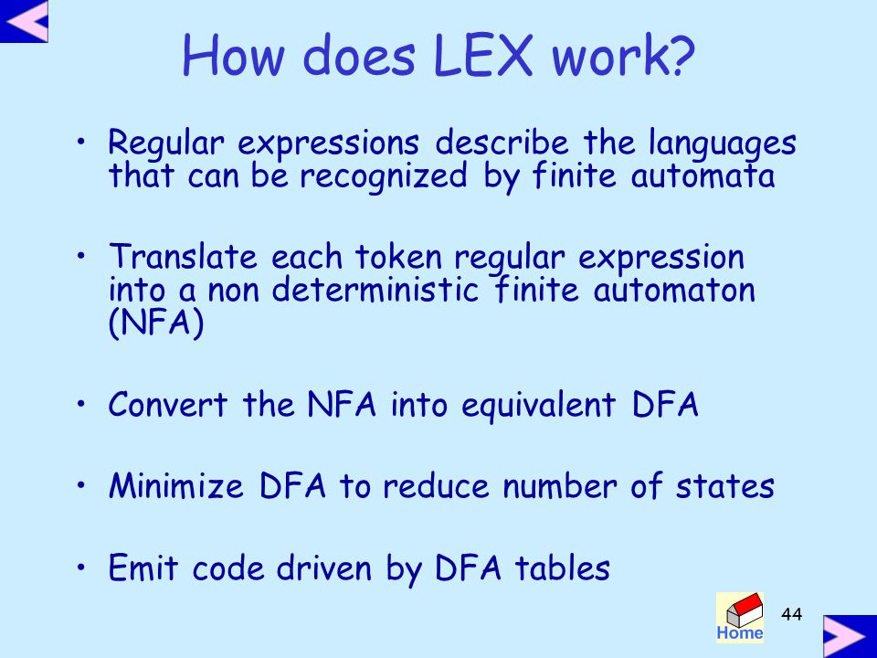 How does LEX work Regular expressions describe the languages that can be recognized by finite automata.