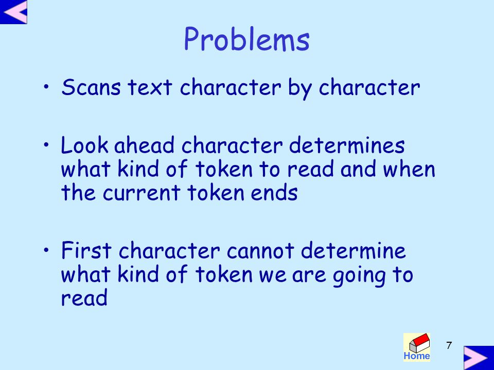 Problems Scans text character by character