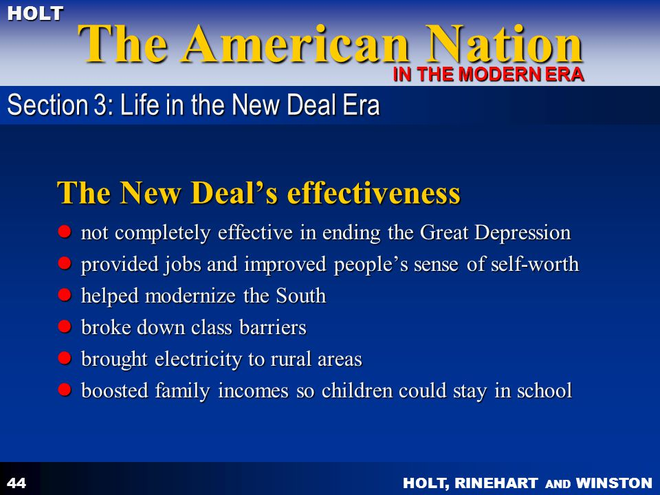 how the new deal improved the The new deal or radical change first, while the economy was slightly improved and absolute despair had been vanquished, the depression continued the first new deal, a relatively conservative approach which had attempted to work with a concentrated business sector.