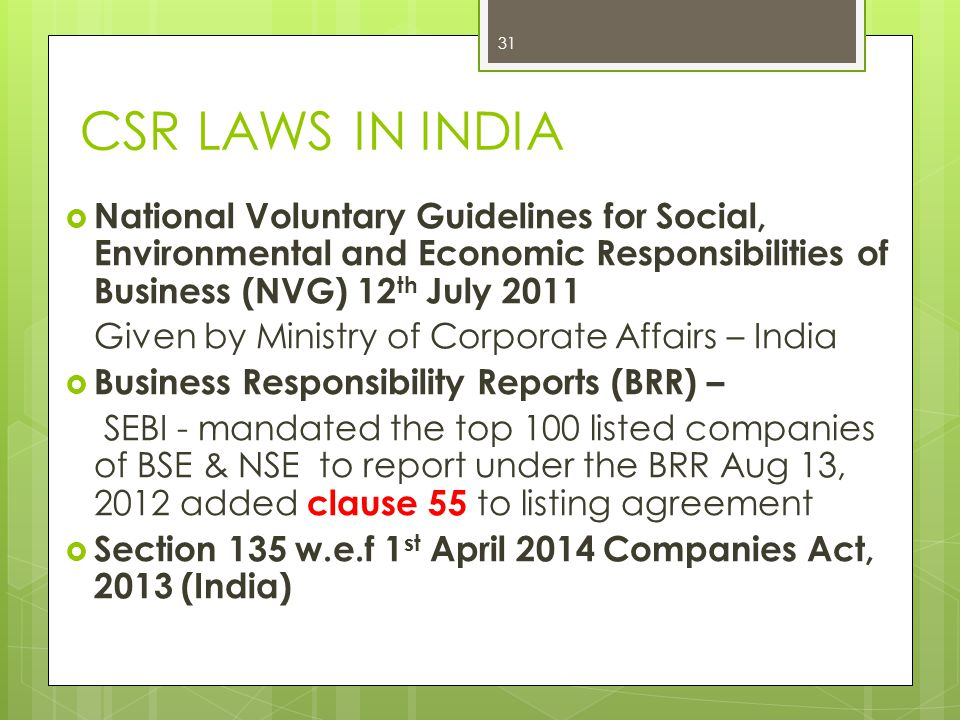 CSR LAWS IN INDIA National Voluntary Guidelines For Social, Environmental  And Economic Responsibilities Of Business. 32 Clause 55 Of Listing Agreement