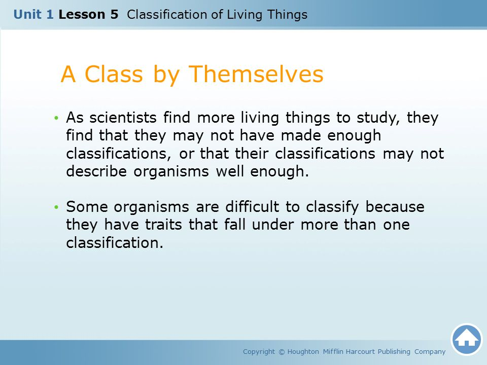 Unit 1 Lesson 5 Classification of Living Things