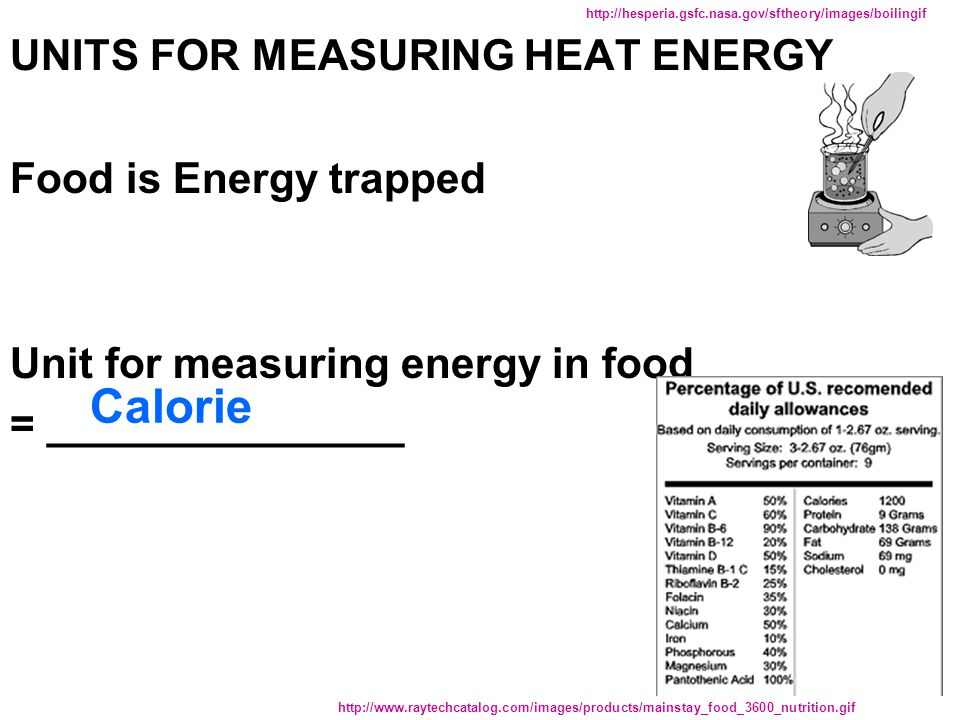 measuring energy and food By measuring the change in temperature (∆t) of a known volume of water, you will be able to calculate the amount of energy in the food tested objective: in this experiment, you will measure the amount of energy available for use from three types of nuts, a plant product.