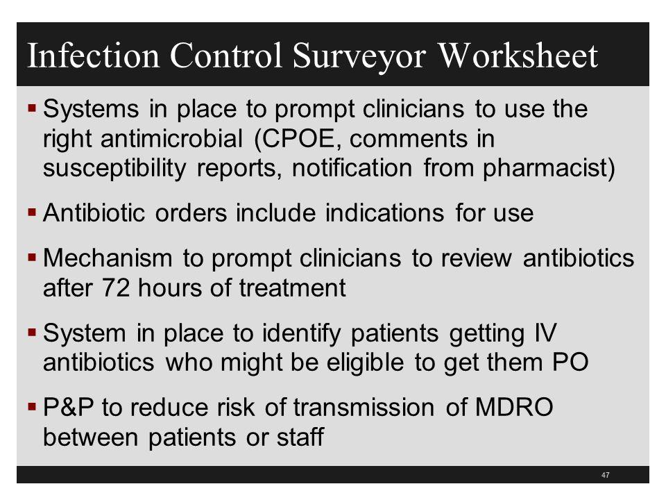 Infection Control Surveyor Worksheet - ppt download