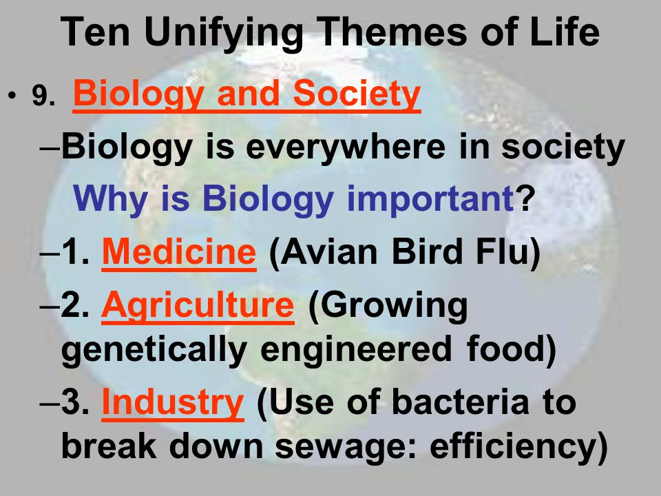 the eight major themes of biology Evolution is a unifying theme in biology it explains changes in organisms over long periods of time this includes adaptation, which allows life forms to acquire new.
