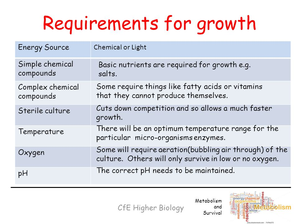the conditions needed for the growth of micro organisms Introduction to microbiology theory an initial aim of all microbiologists is the reproducible growth of their microbial cultures, no matter whether the microorganisms are of natural origin or have been genetically engineered by man.