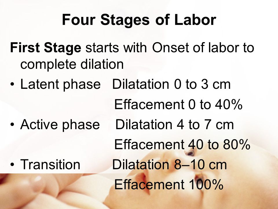 Four Stages of Labor First Stage starts with Onset of labor to complete dilation. Latent phase Dilatation 0 to 3 cm.