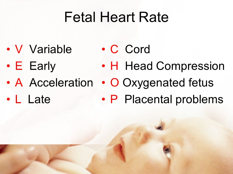 Fetal Heart Rate V Variable E Early A Acceleration L Late C Cord