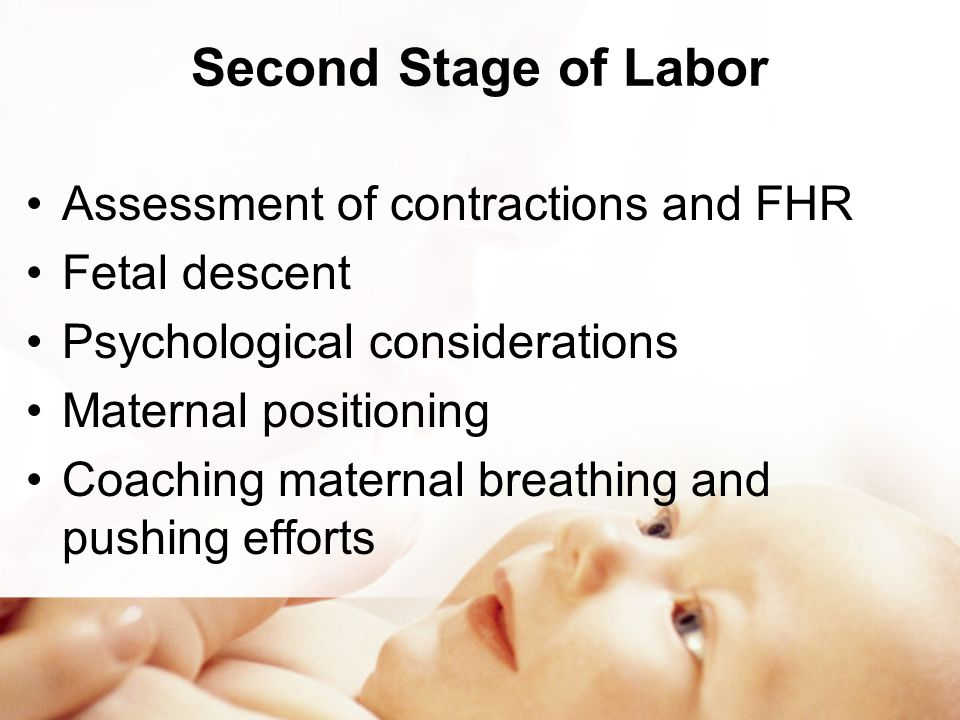 Second Stage of Labor Assessment of contractions and FHR Fetal descent