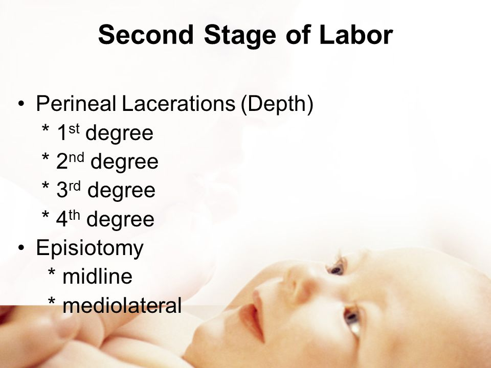 Second Stage of Labor Perineal Lacerations (Depth) * 1st degree