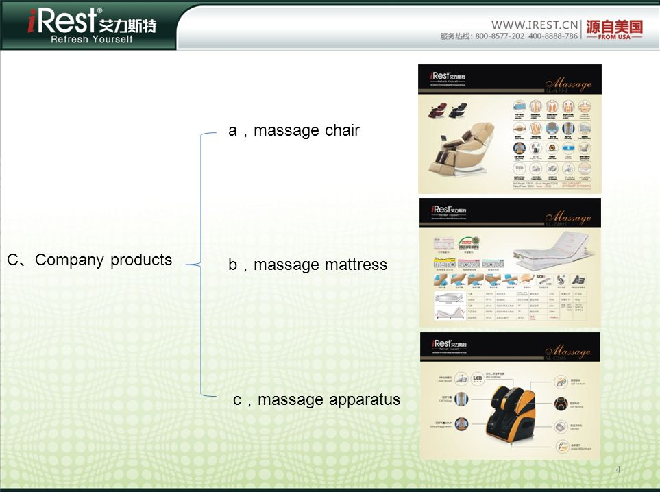 a,massage chair C、Company products b,massage mattress