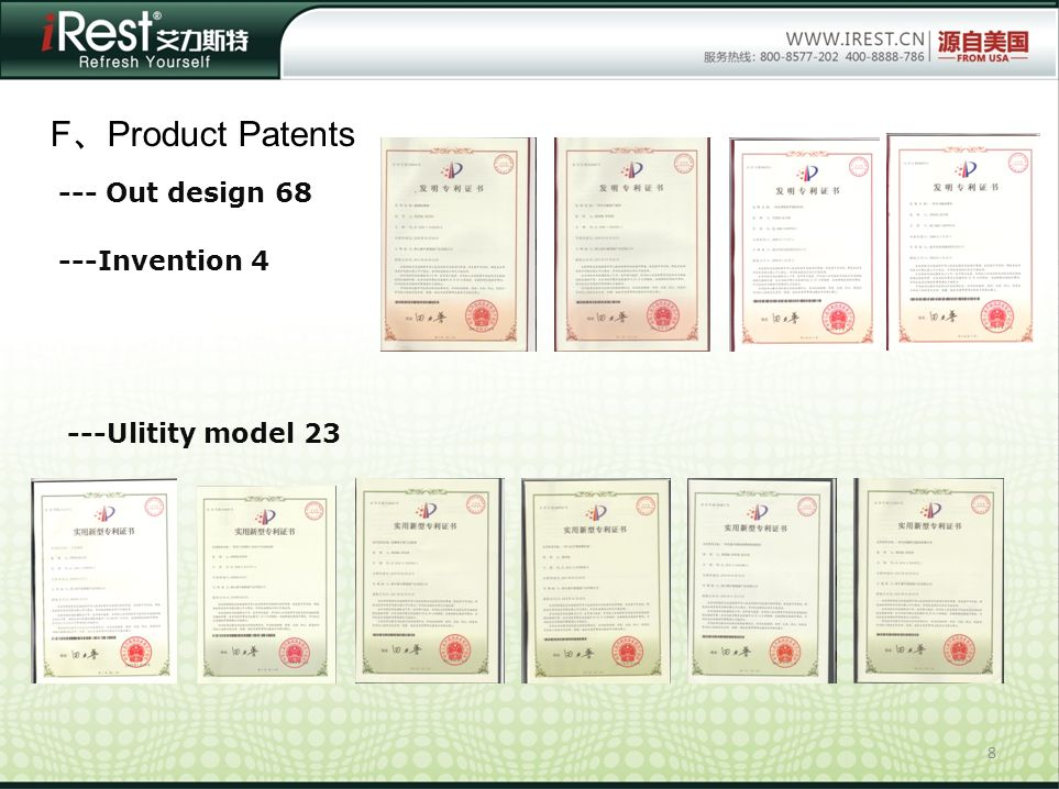 F、Product Patents --- Out design 68 ---Invention 4 ---Ulitity model 23
