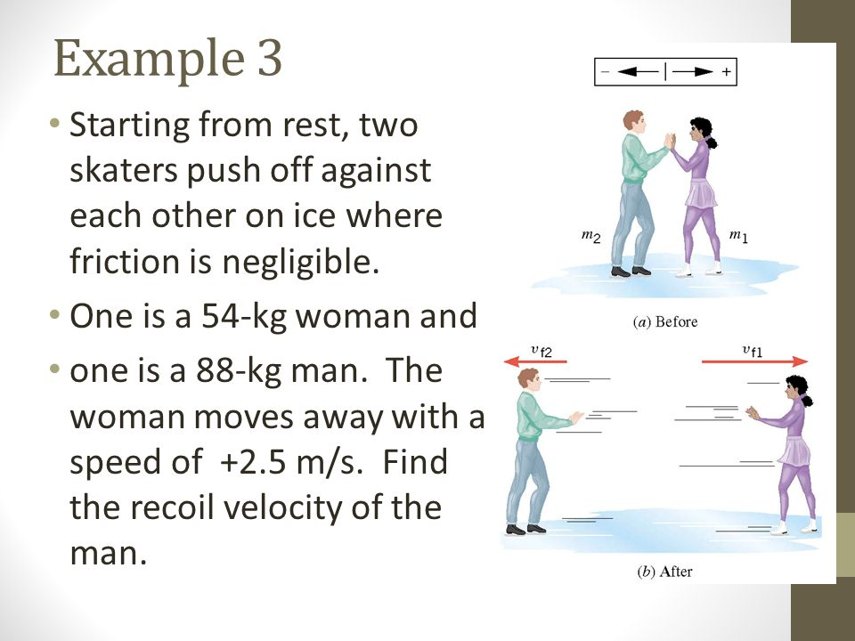Example 3 Starting from rest, two skaters push off against each other on ice where friction is negligible.