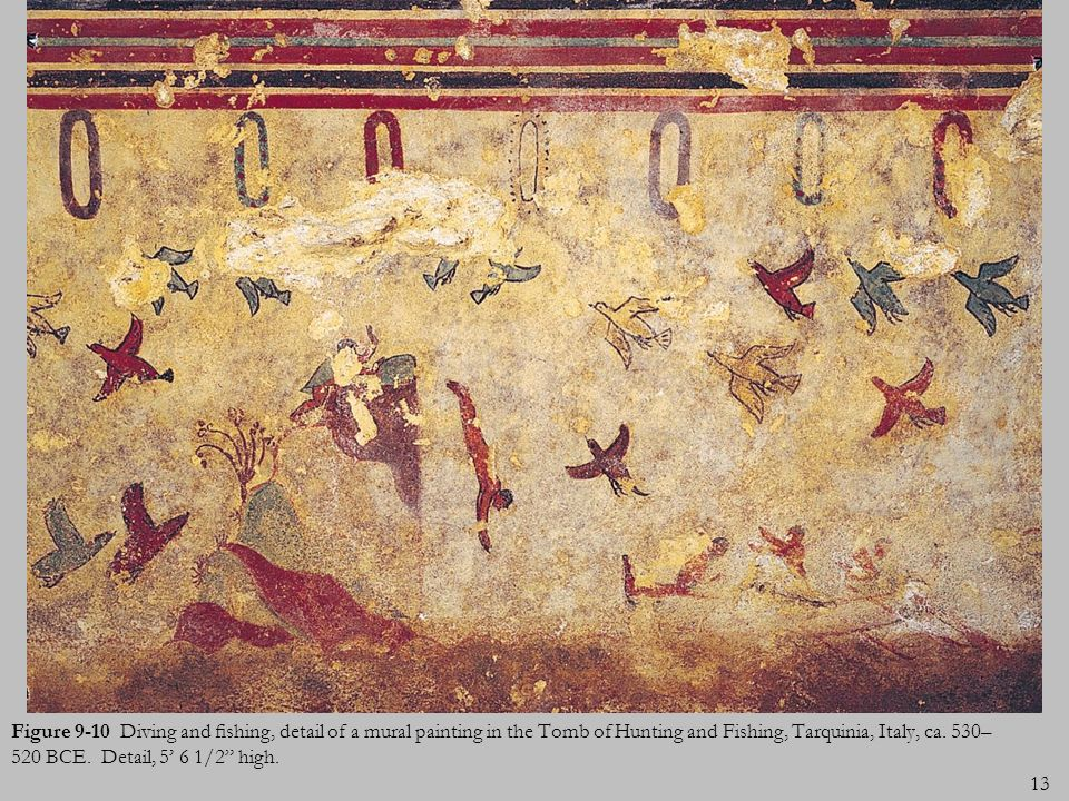 Figure 9-10 Diving and fishing, detail of a mural painting in the Tomb of Hunting and Fishing, Tarquinia, Italy, ca.