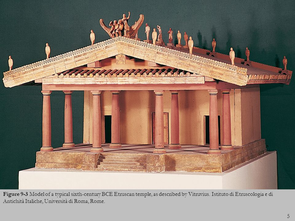 Figure 9-3 Model of a typical sixth-century BCE Etruscan temple, as described by Vitruvius.