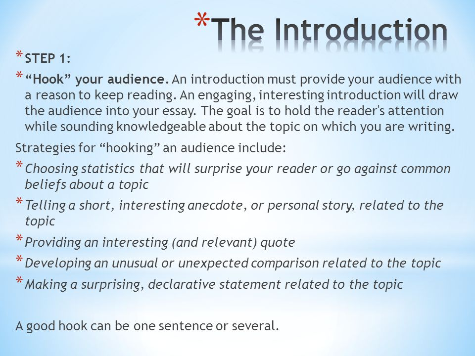 interesting essay introductions Writing effective introductions great writers know that effective and impacting essays begin with an interesting and engaging introduction that reveals their thesis and purpose, while capturing the reader's attention.