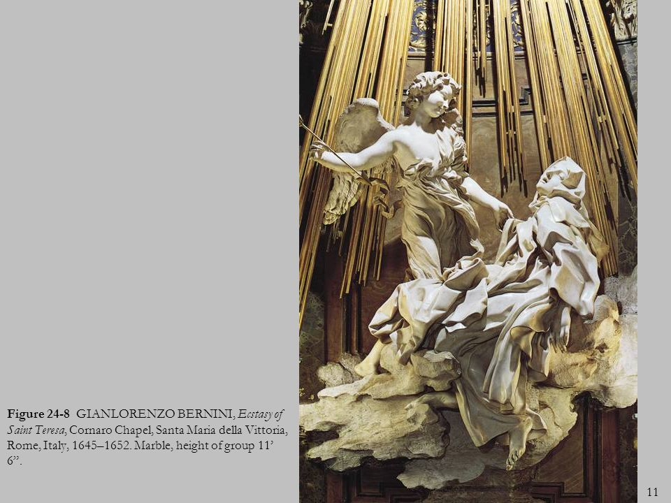 Figure 24-8 GIANLORENZO BERNINI, Ecstasy of Saint Teresa, Cornaro Chapel, Santa Maria della Vittoria, Rome, Italy, 1645–1652.