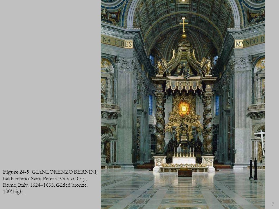 Figure 24-5 GIANLORENZO BERNINI, baldacchino, Saint Peter's, Vatican City, Rome, Italy, 1624–1633.