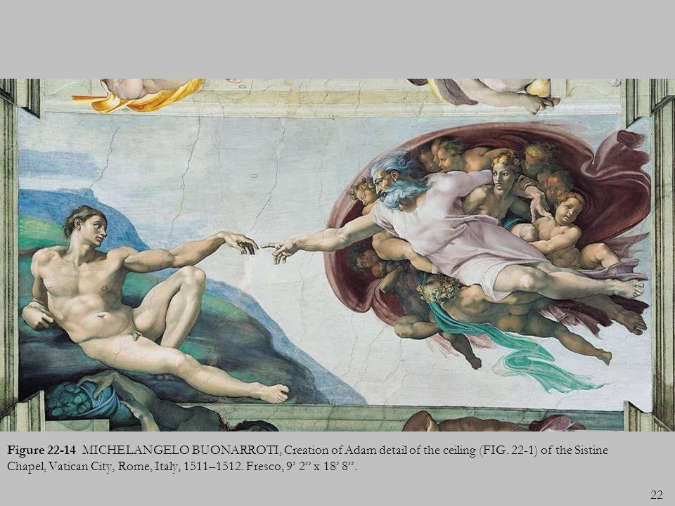 Figure 22-14 MICHELANGELO BUONARROTI, Creation of Adam detail of the ceiling (FIG.