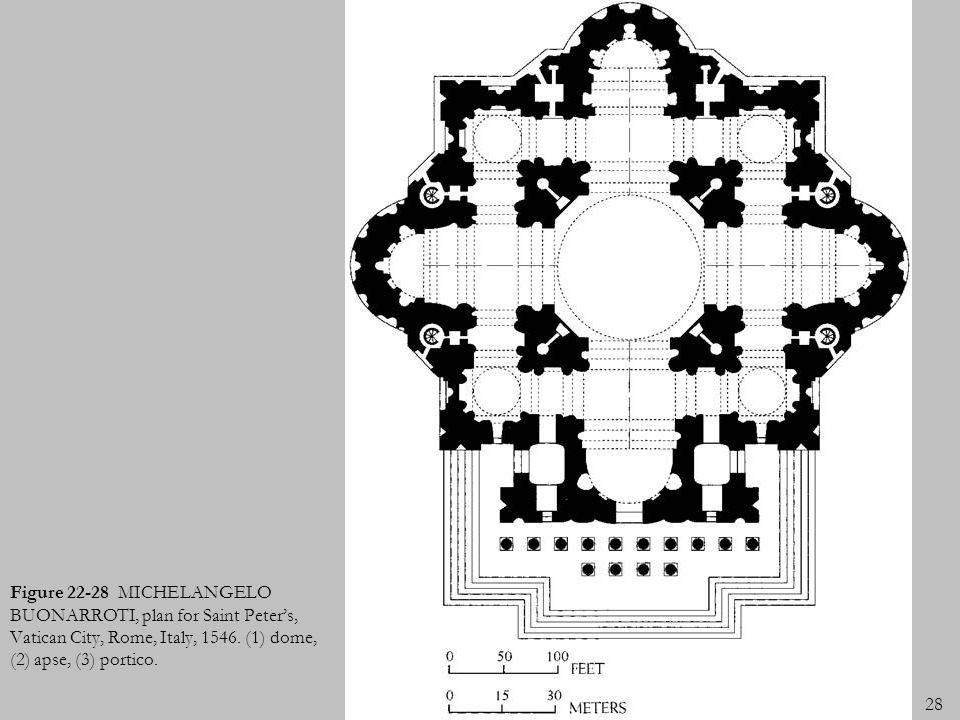 Figure 22-28 MICHELANGELO BUONARROTI, plan for Saint Peter's, Vatican City, Rome, Italy, 1546.