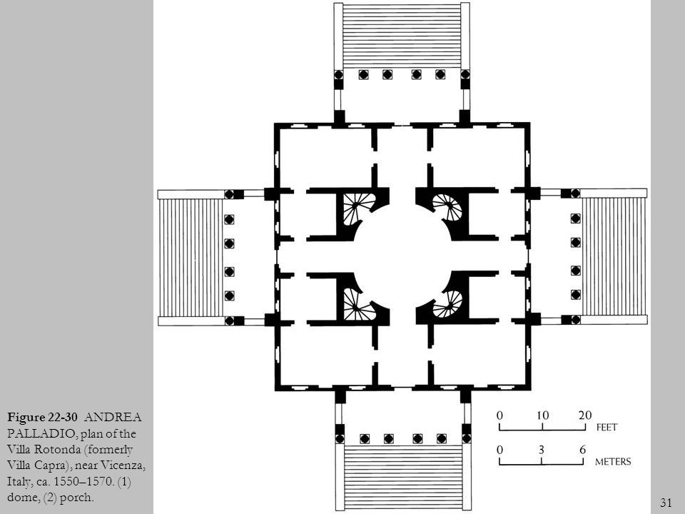 Figure ANDREA PALLADIO, plan of the Villa Rotonda (formerly Villa Capra), near Vicenza, Italy, ca.