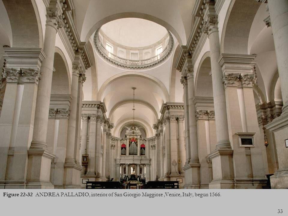 Figure 22-32 ANDREA PALLADIO, interior of San Giorgio Maggiore ,Venice, Italy, begun 1566.