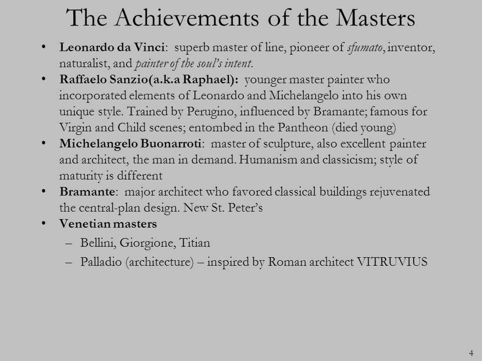 The Achievements of the Masters