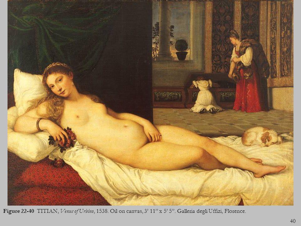 Figure 22-40 TITIAN, Venus of Urbino, 1538