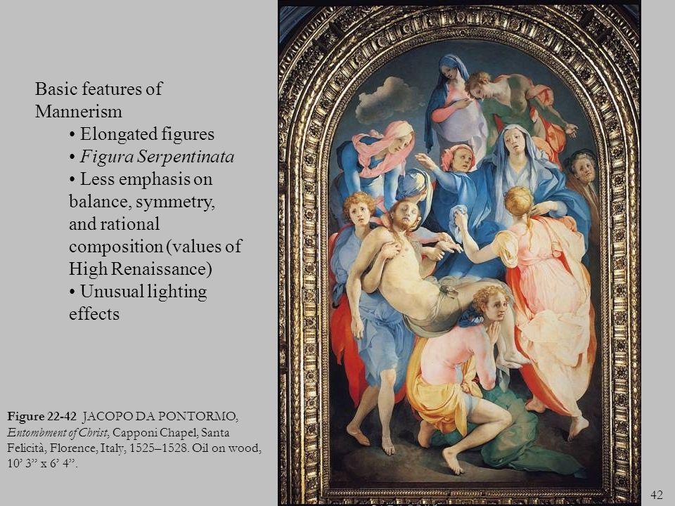 Basic features of Mannerism Elongated figures Figura Serpentinata