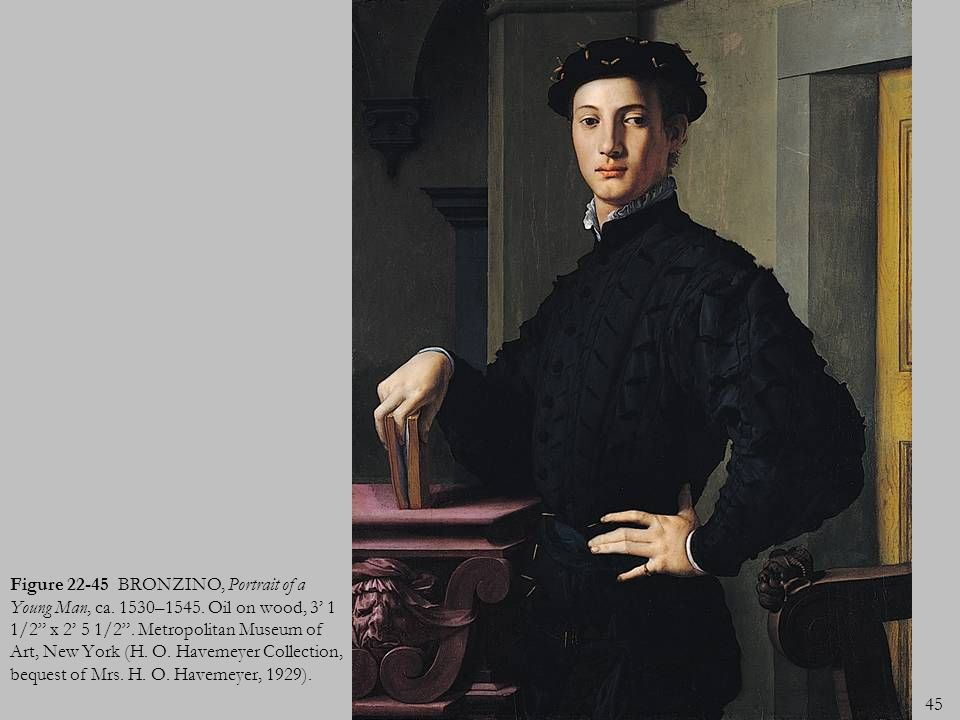 Figure 22-45 BRONZINO, Portrait of a Young Man, ca. 1530–1545