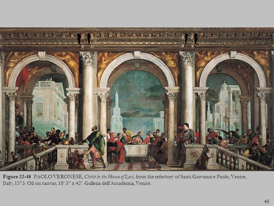 Figure 22-48 PAOLO VERONESE, Christ in the House of Levi, from the refectory of Santi Giovanni e Paolo, Venice, Italy, 1573.