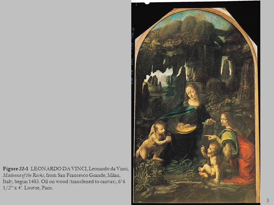 Figure 22-1 LEONARDO DA VINCI, Leonardo da Vinci, Madonna of the Rocks, from San Francesco Grande, Milan, Italy, begun 1483.