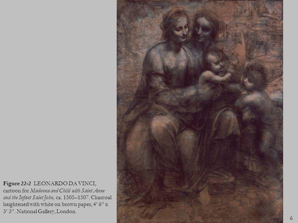 Figure 22-2 LEONARDO DA VINCI, cartoon for Madonna and Child with Saint Anne and the Infant Saint John, ca.