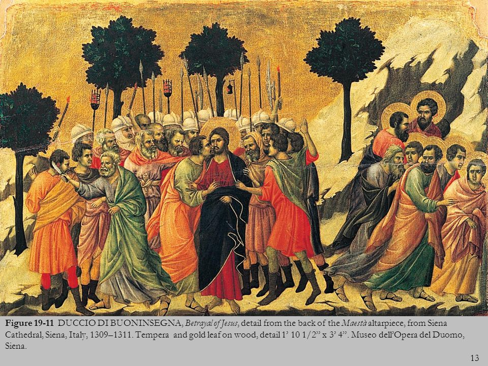 Figure 19-11 DUCCIO DI BUONINSEGNA, Betrayal of Jesus, detail from the back of the Maestà altarpiece, from Siena Cathedral, Siena, Italy, 1309–1311.
