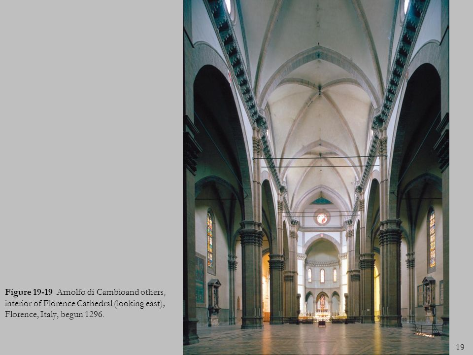 Figure 19-19 Arnolfo di Cambioand others, interior of Florence Cathedral (looking east), Florence, Italy, begun 1296.