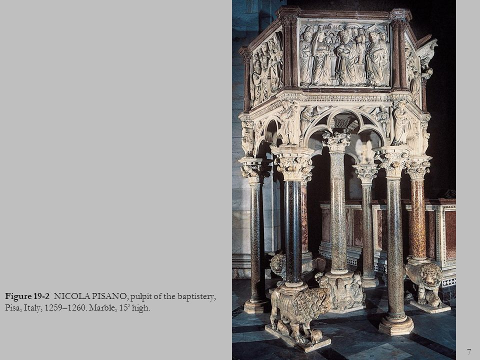 Figure 19-2 NICOLA PISANO, pulpit of the baptistery, Pisa, Italy, 1259–1260. Marble, 15' high.