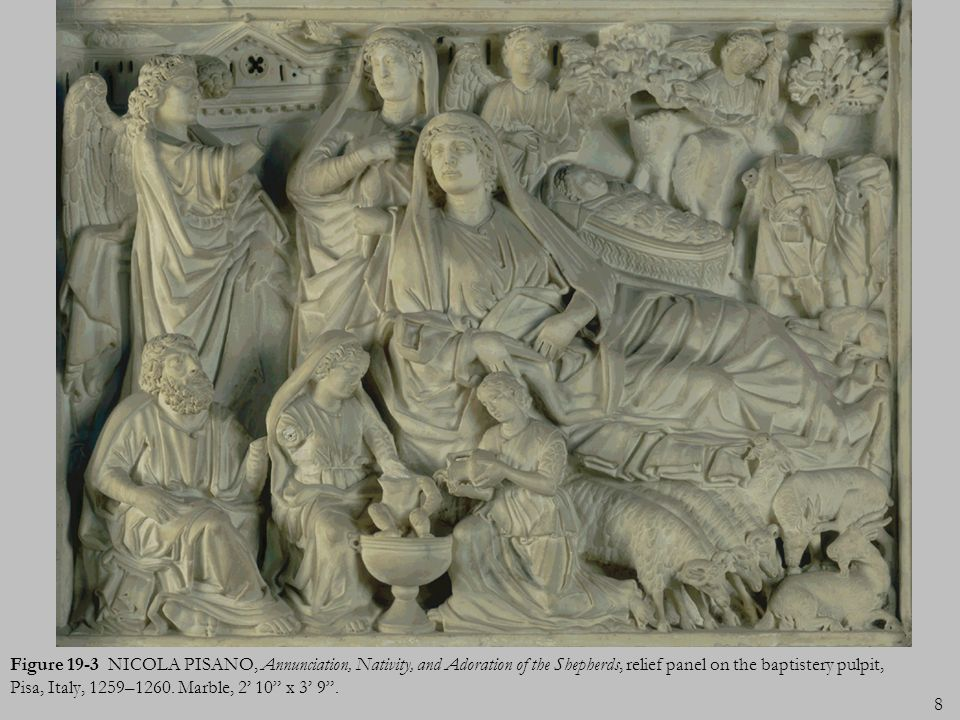 Figure 19-3 NICOLA PISANO, Annunciation, Nativity, and Adoration of the Shepherds, relief panel on the baptistery pulpit, Pisa, Italy, 1259–1260.