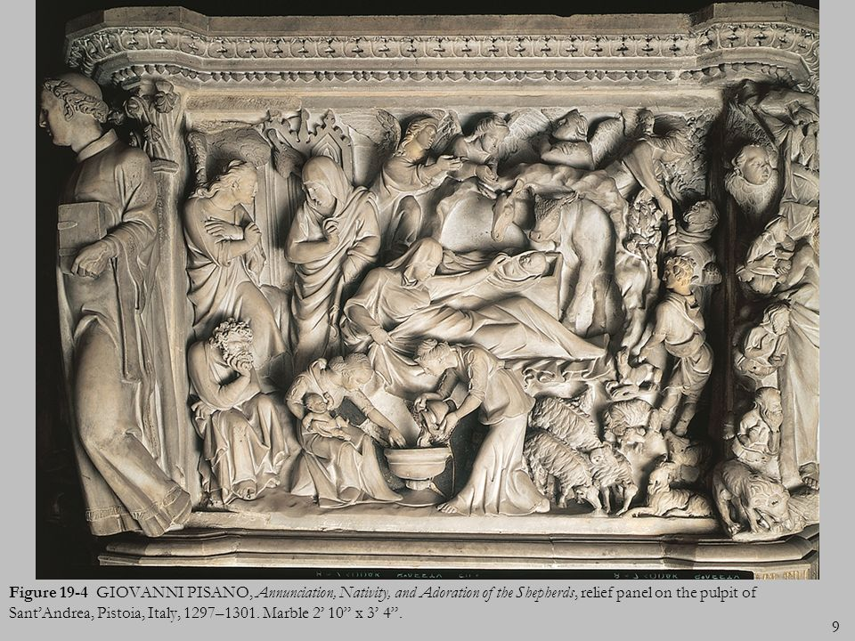 Figure 19-4 GIOVANNI PISANO, Annunciation, Nativity, and Adoration of the Shepherds, relief panel on the pulpit of Sant'Andrea, Pistoia, Italy, 1297–1301.
