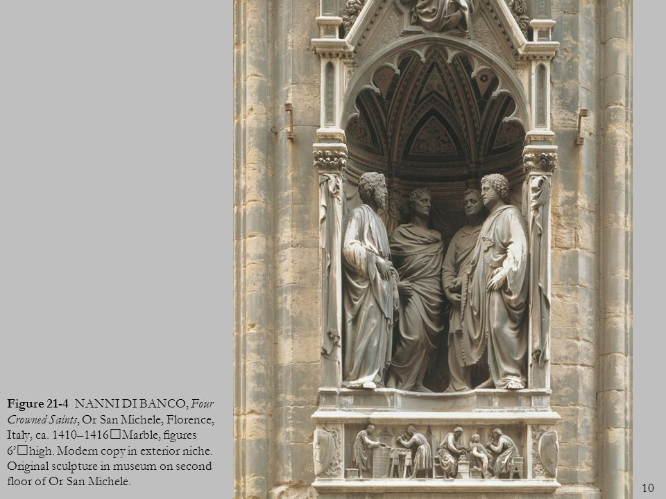 Figure 21-4 NANNI DI BANCO, Four Crowned Saints, Or San Michele, Florence, Italy, ca.