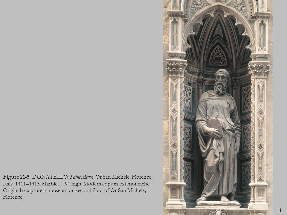 Figure 21-5 DONATELLO, Saint Mark, Or San Michele, Florence, Italy, 1411–1413.