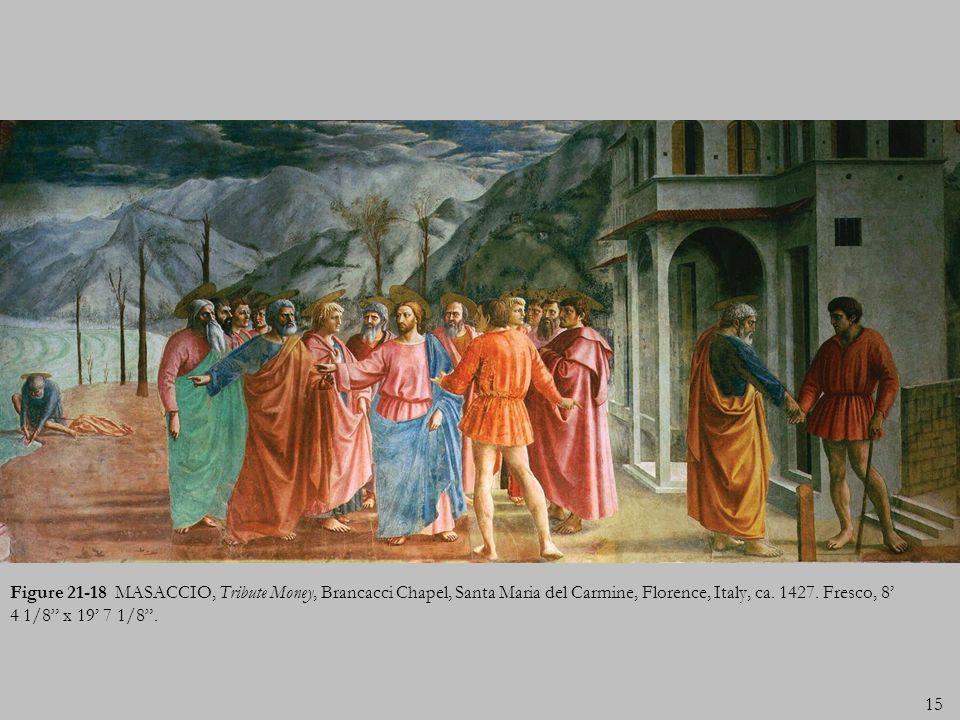 Figure 21-18 MASACCIO, Tribute Money, Brancacci Chapel, Santa Maria del Carmine, Florence, Italy, ca.