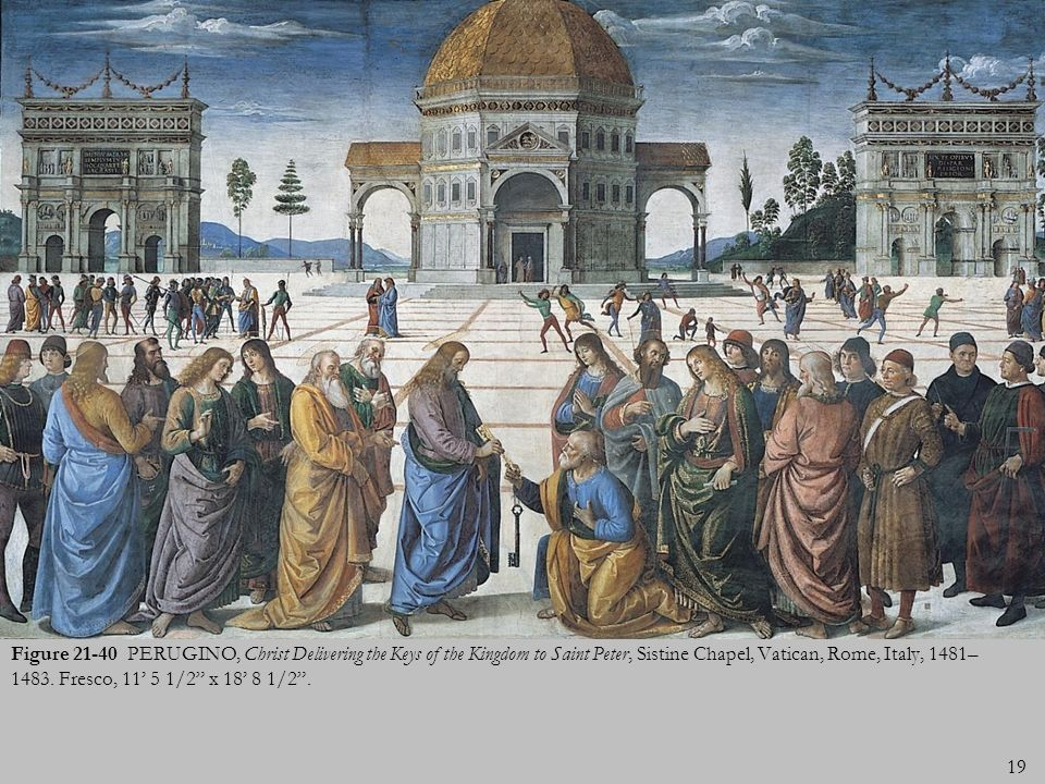 Figure PERUGINO, Christ Delivering the Keys of the Kingdom to Saint Peter, Sistine Chapel, Vatican, Rome, Italy, 1481–1483.