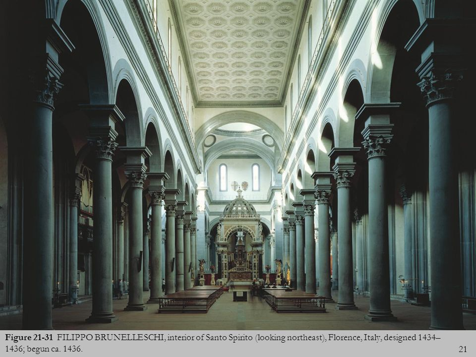 Figure 21-31 FILIPPO BRUNELLESCHI, interior of Santo Spirito (looking northeast), Florence, Italy, designed 1434–1436; begun ca.