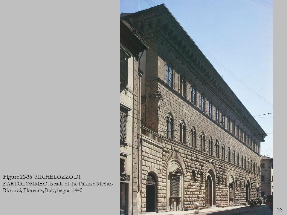 Figure 21-36 MICHELOZZO DI BARTOLOMMEO, facade of the Palazzo Medici-Riccardi, Florence, Italy, begun 1445.