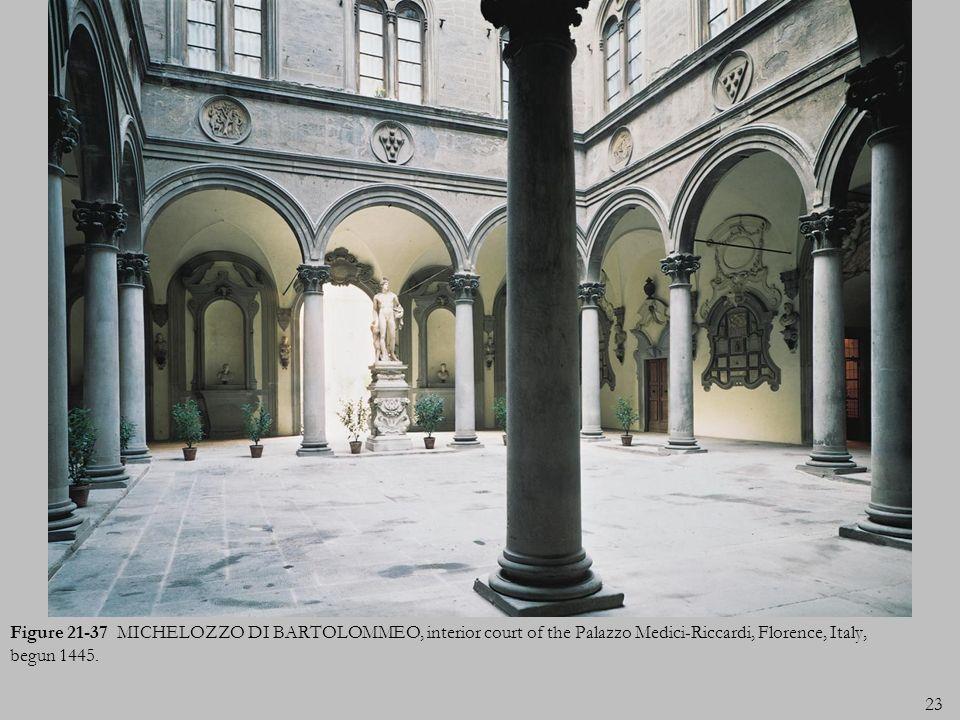 Figure 21-37 MICHELOZZO DI BARTOLOMMEO, interior court of the Palazzo Medici-Riccardi, Florence, Italy, begun 1445.