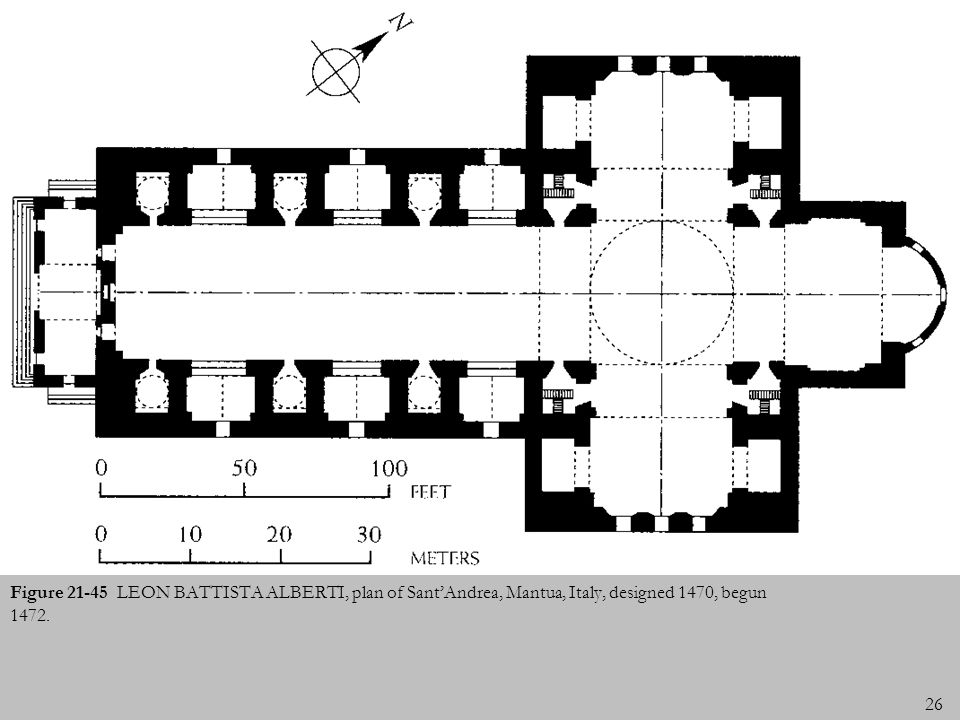 Figure 21-45 LEON BATTISTA ALBERTI, plan of Sant'Andrea, Mantua, Italy, designed 1470, begun 1472.