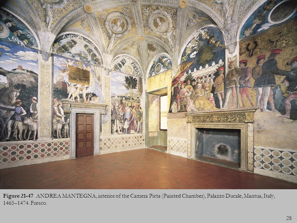 Figure 21-47 ANDREA MANTEGNA, interior of the Camera Picta (Painted Chamber), Palazzo Ducale, Mantua, Italy, 1465–1474.