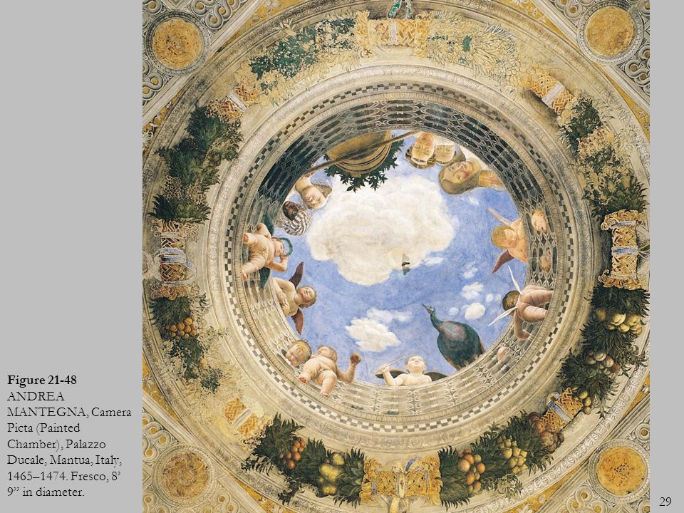 Figure 21-48 ANDREA MANTEGNA, Camera Picta (Painted Chamber), Palazzo Ducale, Mantua, Italy, 1465–1474.