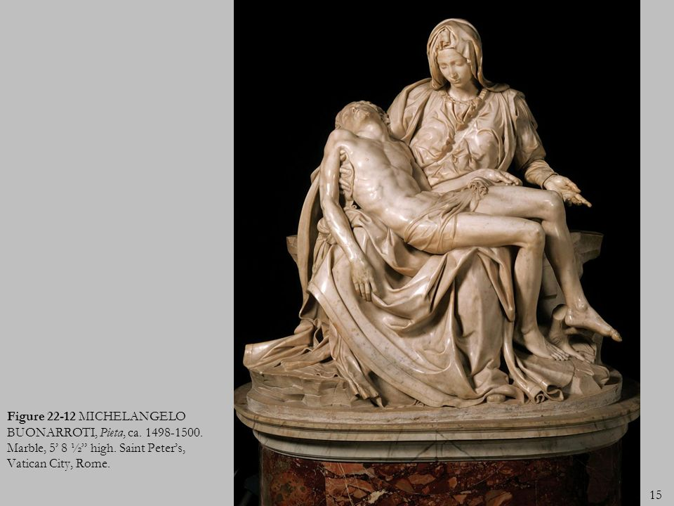 Figure 22-12 MICHELANGELO BUONARROTI, Pieta, ca. 1498-1500